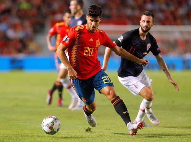 Marco Asensio en el partido de la selección española ante Croacia