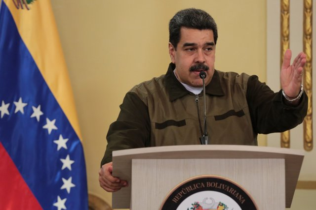 Venezuela's President Nicolas Maduro attends an event with soldiers who were inj