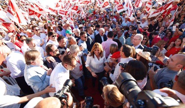 Susana Díaz, en un mitin en Sevilla