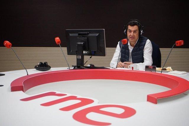 Juanma Moreno, en la entrevista radiofónica en RNE