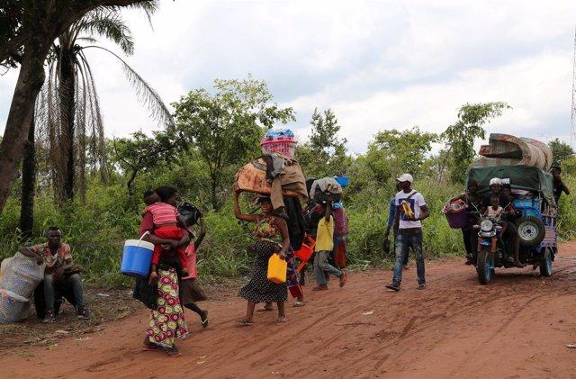 MIgrantes congoleños expulsados de Angola