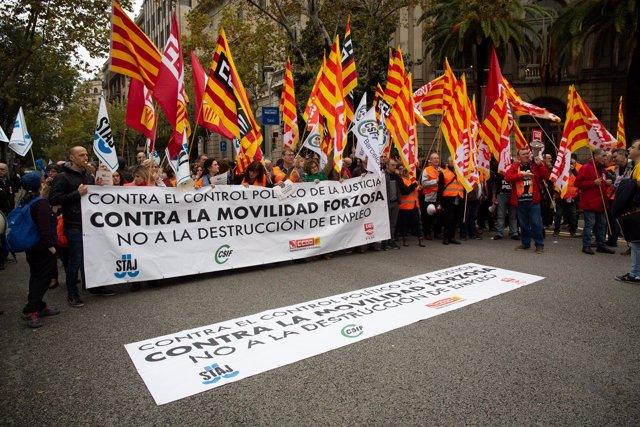 Concentración de funcionarios de Justicia en Barcelona