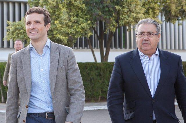 Pablo Casado y Juan Ignacio Zoido, en Sevilla