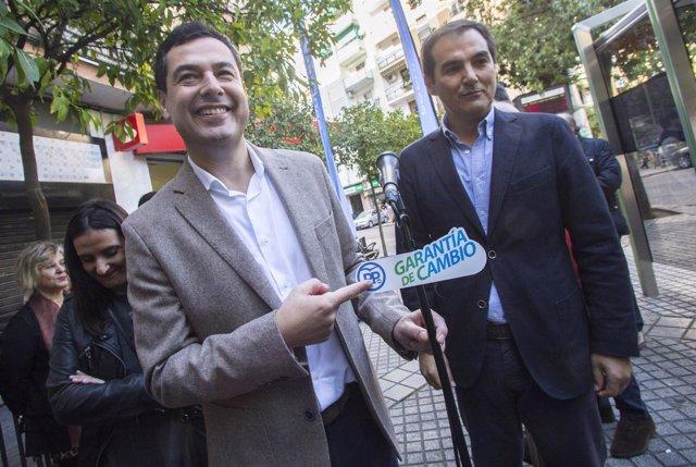 En Córdoba, el candidato del PP-A a la Presidencia de la Junta, Juanma Moreno, i