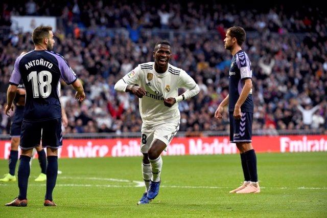 Vinicius Jr. Celebra un gol con el Real Madrid