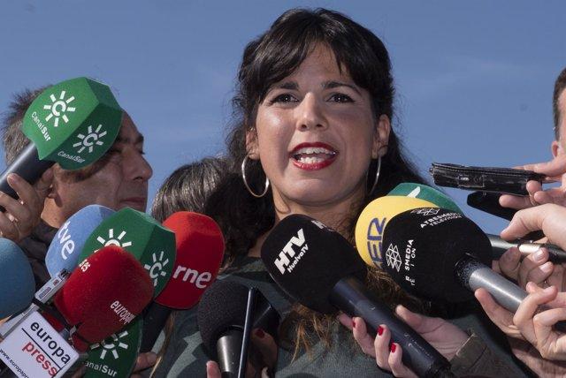 Teresa Rodríguez, este viernes en Huelva