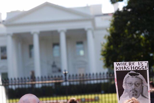 Protesta por la desaparición de Yamal Jashogi frente a la Casa Blanca
