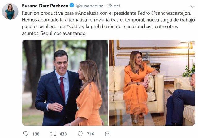 Tuit de Susana Díaz sobre la reunión con Pedro Sánchez