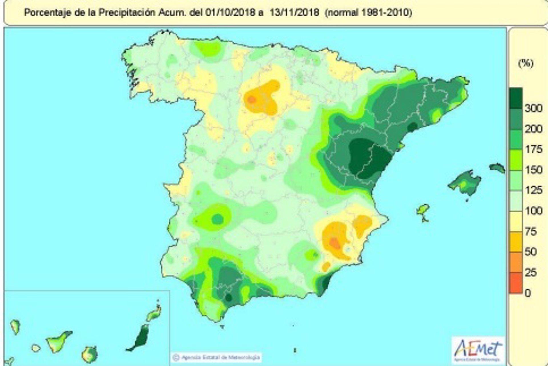 Las lluvias superan en un 35% su valor normal, alcanzando en Mallorca 60 litros por metro cuadrado