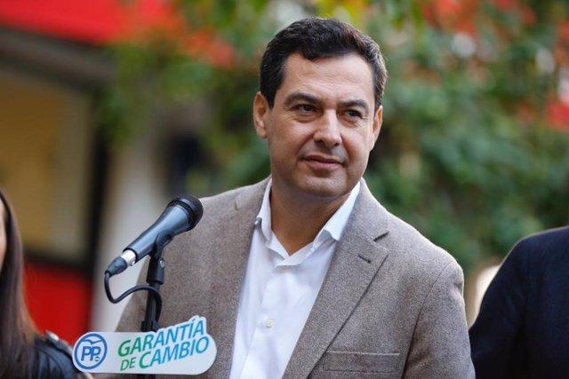 Juanma Moreno (PP-A) en un acto público en Córdoba