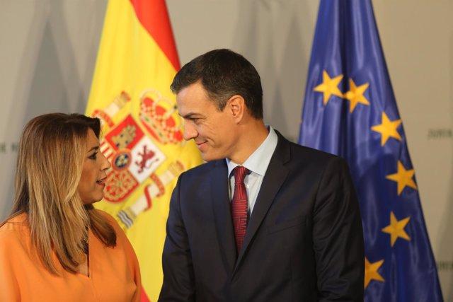El presidente del Gobierno, Pedro Sánchez, y presidenta de la Junta, Susana Díaz