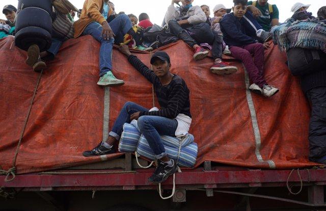 Honduran migrant Angel Galeas, 22, part of a caravan of thousands traveling from