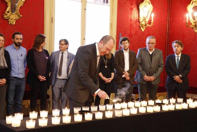 El portavoz del PSIB, Andreu Alcover, en acto por víctimas de violencia machista