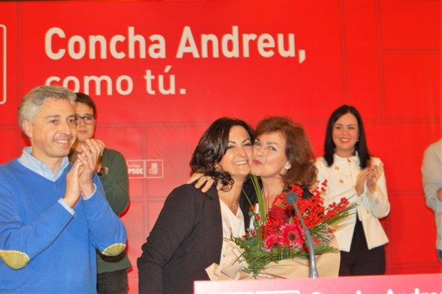 Carmen Calvo junto a Concha Andreu en Logroño