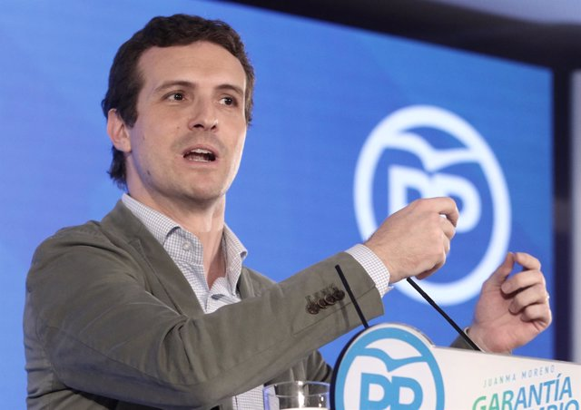 El presidente del PP, Pablo Casado, clausura un acto público del PP