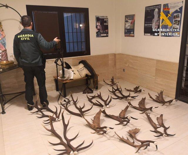 Objetos recuperados por la Guardia Civil tras el robo en un cortijo