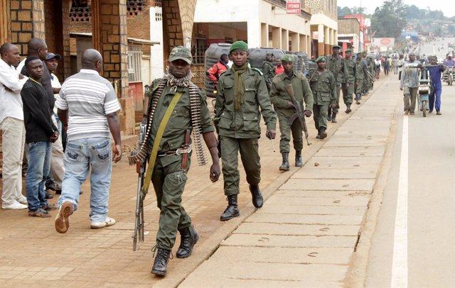 Soldados congoleños en la región de Kivu