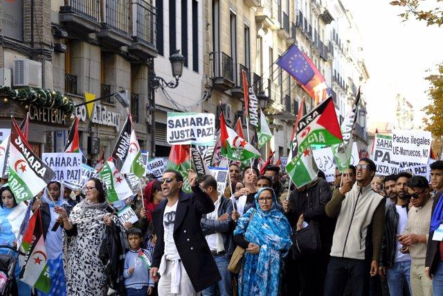 Manifestación en apoyo a la autodeterminación del Sáhara