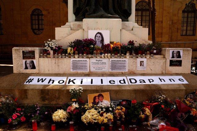 Altar en homenaje a Daphne Caruana Galizia