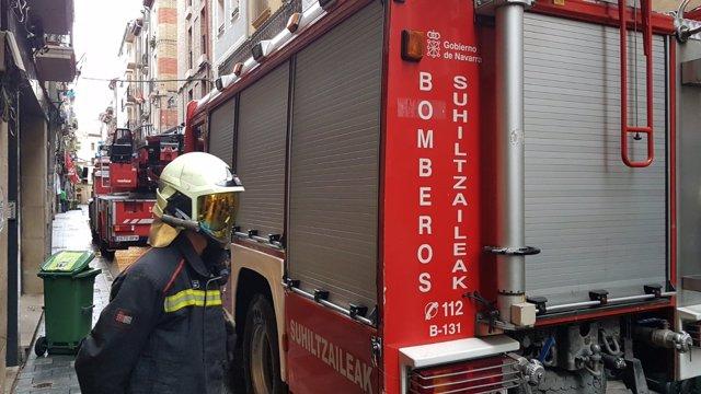 Incendio en un edificio de la calle Jarauta en Pamplona