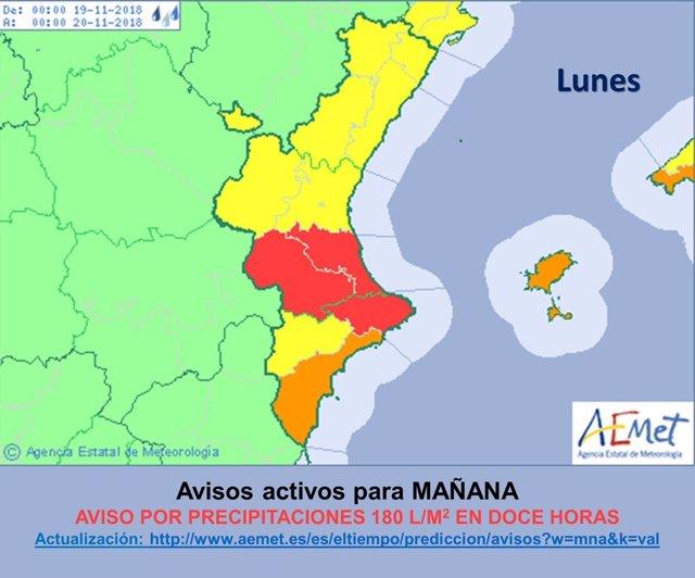Avisos rojos en la Comunitat Valenciana del 19 de noviembre de 2018