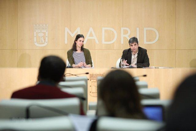 Rita Maestre y Jorge García Castaño en rueda de prensa