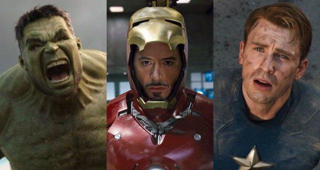 Los actores Marc Ruffalo, Robert Downey Jr., Chris Evans