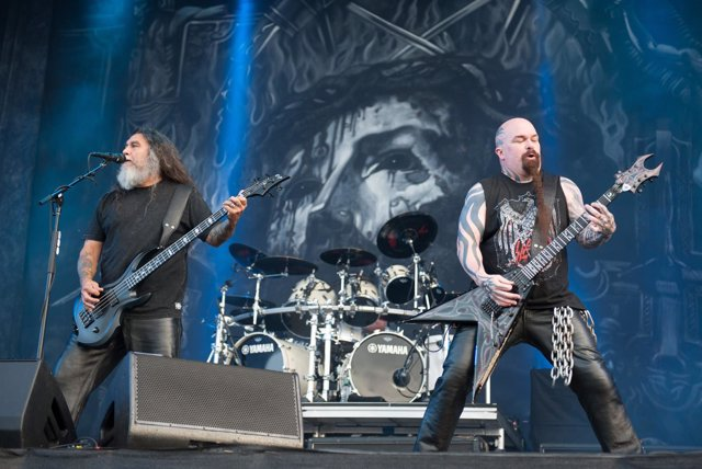 Kerry King and Tom Araya of Slayer performing live on stage on day 3 of Download