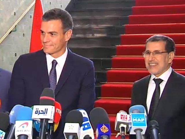 Rueda de prensa del presidente del Gobierno, Pedro Sánchez, en Rabat