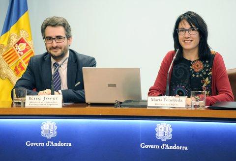 Eric Jover (ministre d'Educació d'Andorra) Marta Fonolleda (dtora. Aqua)