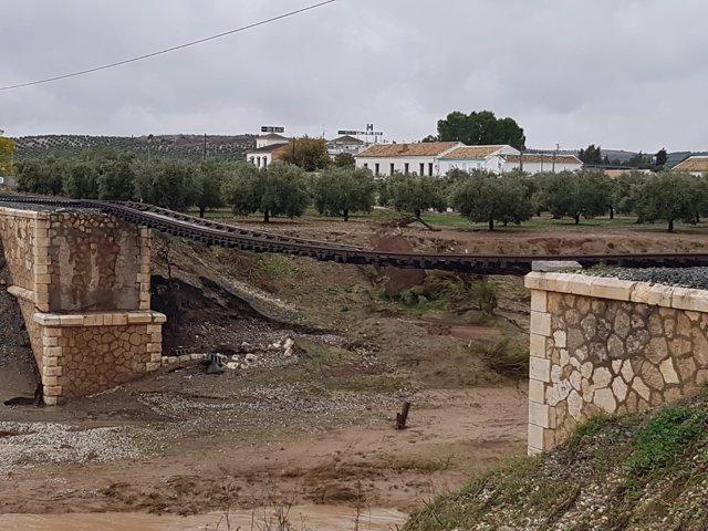 Daños en la línea ferroviaria Sevilla-Málaga