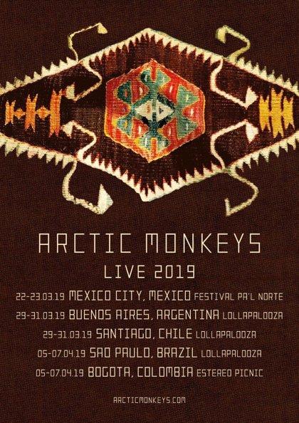 Arctic Monkeys anuncian conciertos en México, Argentina, Chile, Brasil y Colombia