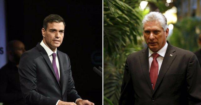 Pedro Sánchez y el presidente de Cuba Díaz Canel