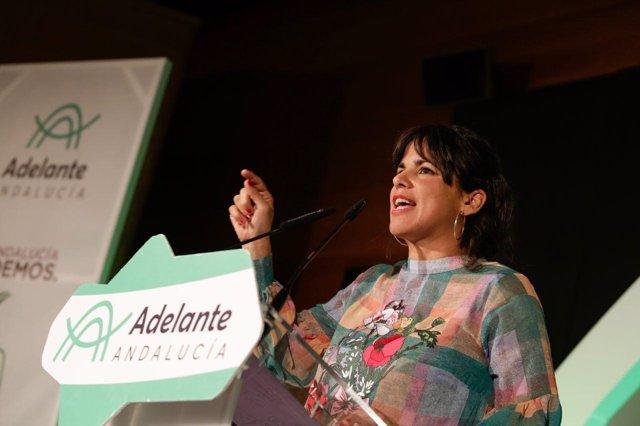 La candidata de Adelante Andalucía a la Presidencia de la Junta, Teresa Rodrígue