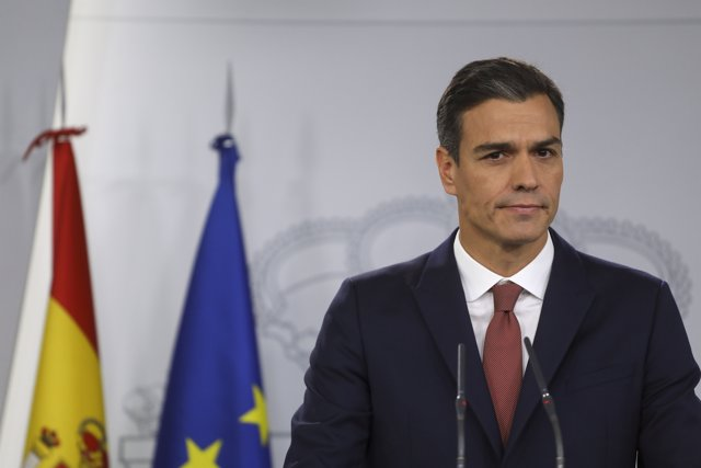 Spain's Prime Minister Pedro Sanchez looks on during a news conference at the Mo