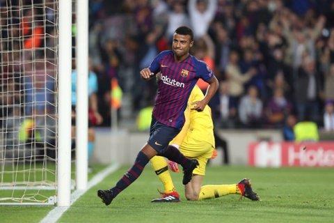 Rafinha tras marcar su gol en el Barcelona-Inter