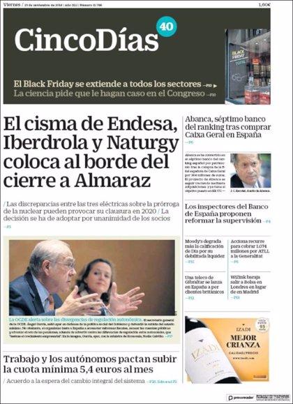 Las portadas de los periódicos económicos de hoy, viernes 23 de noviembre