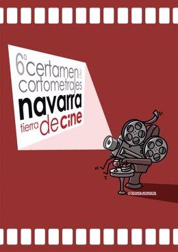 Cartel del VI Certamen de cortometrajes 'Navarra, tierra de cine'