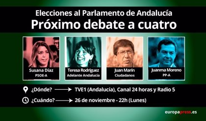 Díaz, Moreno, Rodríguez y Marín, este lunes en TVE en el segundo debate a cuatro