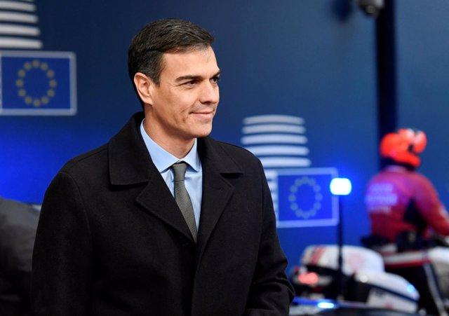 Foto de Pedro Sánchez a su llegada a Bruselas
