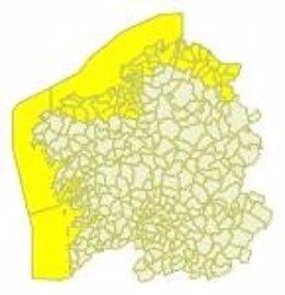El litoral gallego estará en alerta amarilla