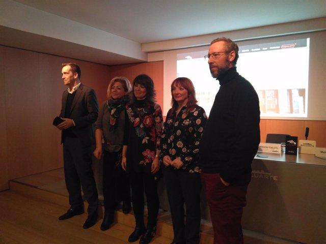 Lacunza, Oroz, Beloki, Rodríguez y Cañada en la presentación del festival