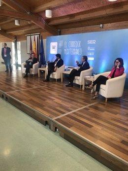 De izquierda a derecha, Albarracín, López Miras, Saura y Castejón, en el acto