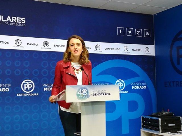 Gema Cortés en rueda de prensa este lunes en Mérida