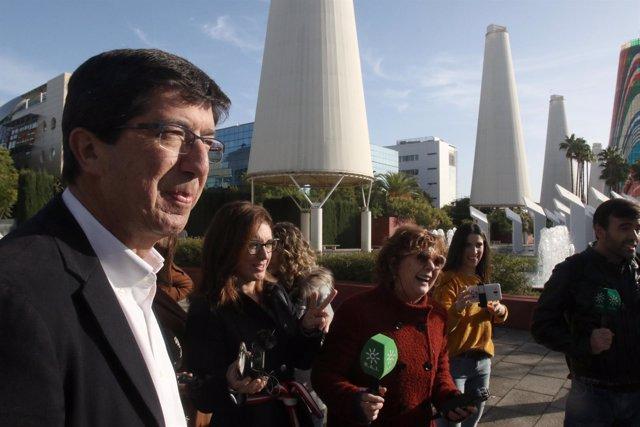 Juan Marín, en un acto electoral en la Cartuja