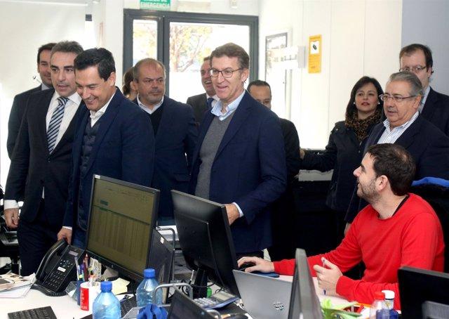 Juanma Moreno se compromete a triplicar la inversión en I+D en un acto con Feijó