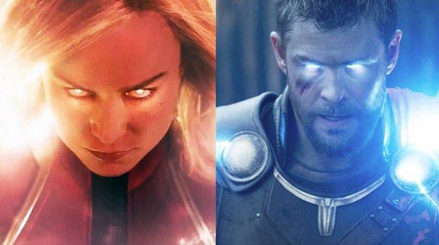Capitana Marvel y Thor en Infinity War