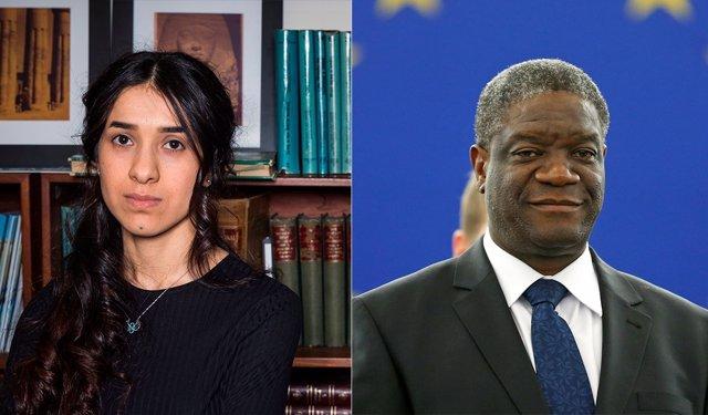 Montaje de la activista yazidí Nadia Murad y el cirujano congoleño Denis Mukwege