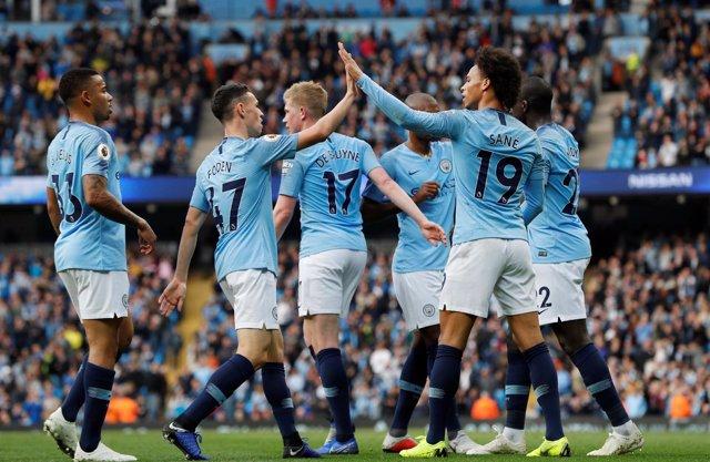 El Manchester City celebra un gol en el Estadio de Manchester