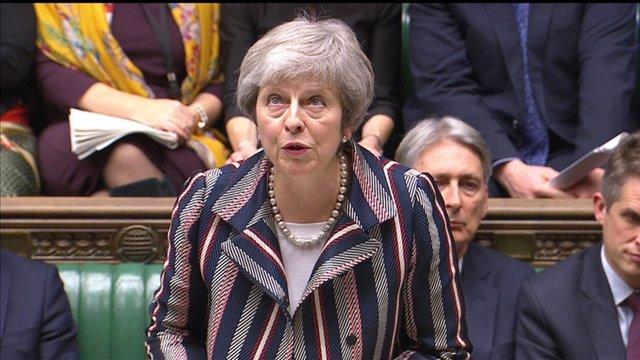 La primera ministra británica,  Theresa May, en el Parlamento británico